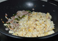 With crumbled fish pieces
