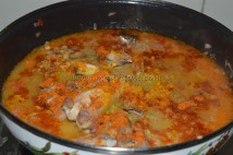 With boiled red gram/masoor dal and mutton bones