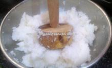 Rice getting mashed