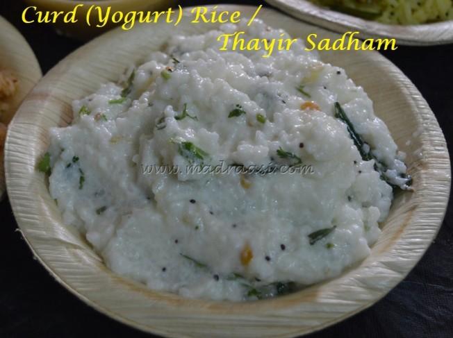 Curd (Yogurt) Rice / Thayir Sadham