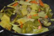 With cooked vegetables
