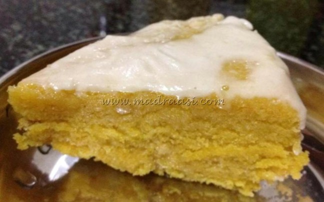 Eggless mango cake with vanilla icing