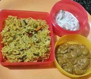 Mushroom curry served with vegetable Briyani and raita