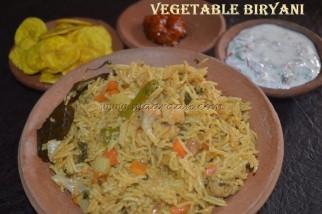 Vegetable Biryani with onion-tomato raita, lemon pickle and Banana Chips