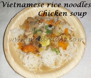 Vietnamese rice noodles chicken soup