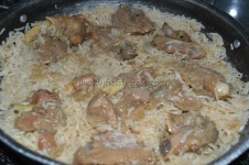 Lamb pieces over the rice