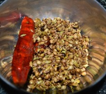 Spices roasted in oil