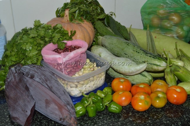 Vegetables collected all over the travel