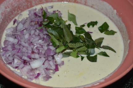 Adai batter with onions and curry leaves