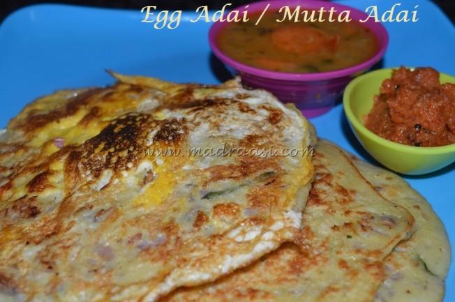 Egg Lentil Dosa / Mutta Adai