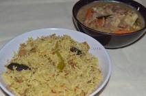 Soya Chunks Pulav with Soya gravy