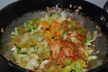 With veggies and spice powders
