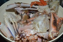 Cleaned and halved crabs