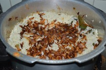 Fried onions over the rice