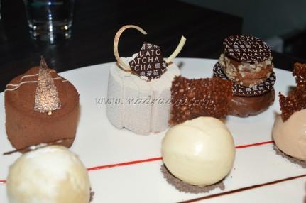 Chocolate hazelnut mousse, Milk Chocolate praline, Jasmine Tea cake