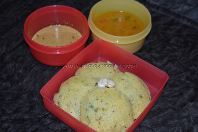 Rava Idly (Instant), Potato Saagu and Chutney
