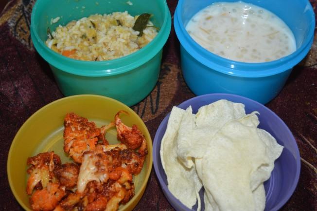 Steamed rice with Sambhar, appalam, Cauliflower fry and Payasam