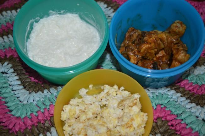 Curd/Yogurt rice, Chicken Varuval, Scrambled egg
