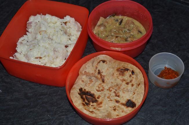 Chapathi, Egg Rice and Mushroom Gravy