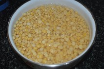 Split Bengal gram/channa dal/kadalai paruppu soaked in water