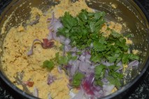 With onions and coriander leaves