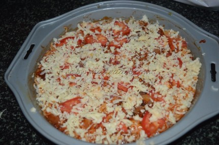 Sprinkled with grated Mozzarella cheese