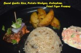 Burnt Garlic Rice, Potato Wedges, Coleslaw and Fried Tiger Prawns
