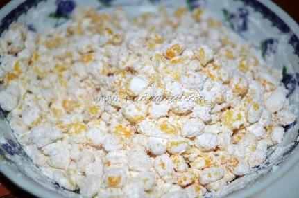 Corn kernel in mixed in corn flour