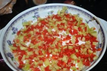 veggies finely chopped, mixed with olive oil, pepper powder, salt and spread over the plate