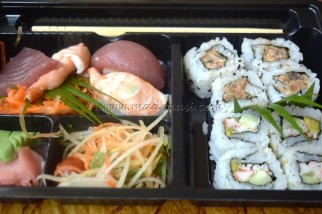 Seafood Donburi Bento - with Japanese rice and PRAWN IN HOT BEAN SAUCE topping