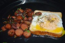 Honey Glazed Sausage with Egg on Bread