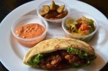 Chilly chicken pitta pockets with Salads, potato wedges and spicy Mayo dip