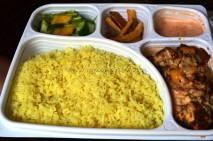 Saffron Rice, salad, Tian Vegetables