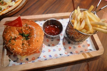 Chicken Sloppy Joe Burger with French Fries
