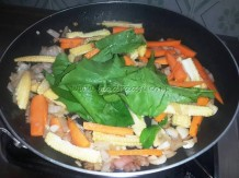 With veggies and palak