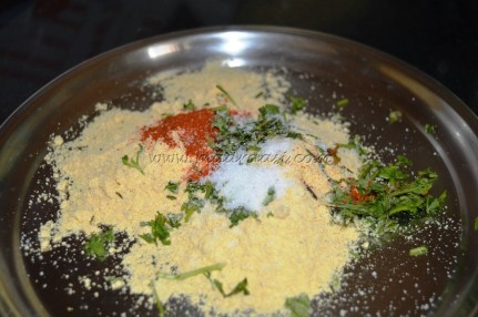 Maize flour, chili powder, salt and coriander leaves