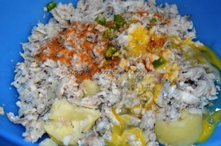Fish, boiled potato, green chili, eggs, salt