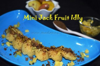 Jack fruit Idly with minced jack fruit and powdered palm jaggery topping