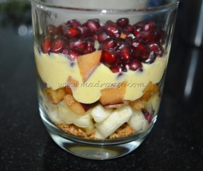 Layered with custard and pomegranate