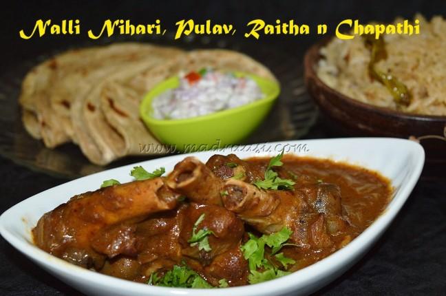 Nalli Nihari with Pulav, raitha and chapathi