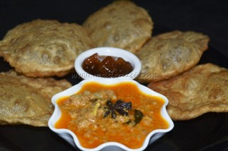Minced Meat Curry with Poori and Mango Cumin Chutney