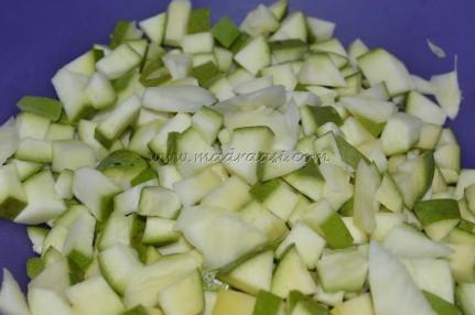 Cubed mango pieces