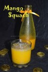 Mango squash with water and falooda seeds