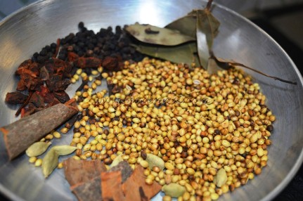 Spices getting dry roasted