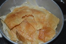 Baked filo sheets
