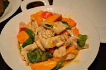 Stir fry slice chicken with seasonal Mango and Bell peppers