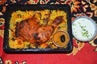 Chicken Biryani, salan and Raita
