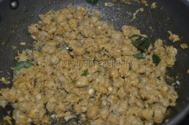 Pressure-cooked or boiled soya chunks/meal maker getting roasted with Eastern Beef Ularthu Masala and grated coconut