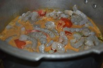 With masala and prawns