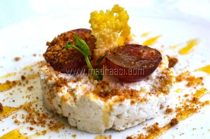 Fresh Ricotta and Red Grape Timbale with NutriChoice Essentials 5 Grain Cookie crumble and organic honey